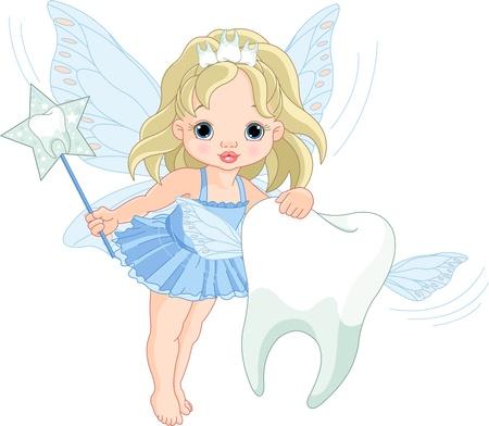 fee zauberstab:  Illustration of a cute little Tooth Fairy fliegen mit Zahn