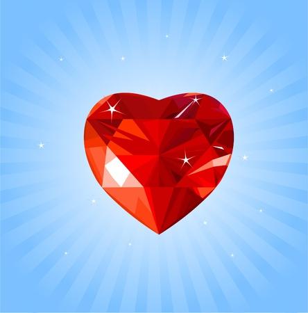 Shiny crystal love hearts on radial background Ilustrace