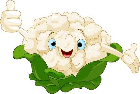 Cartoon cute Cauliflower presenting something