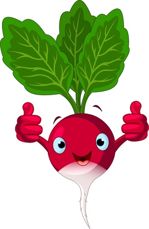 Illustratie van een radijs karakter geven thumbs up Stock Illustratie