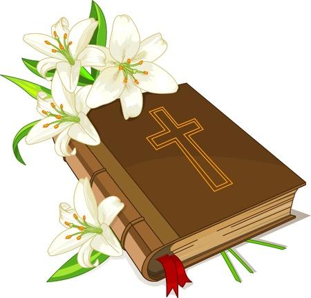lily flowers: El sagrado libro de las Biblia y lily flores sobre un fondo blanco
