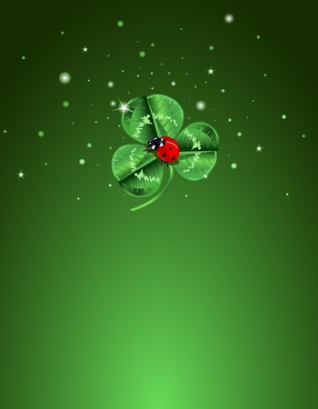 three leafed: Three leafed clover and ladybug in the center of the screen for St. Patricks Day