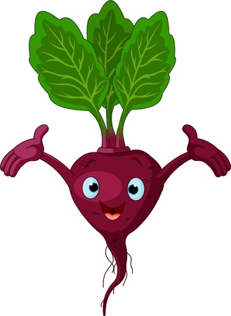 Cartoon cute beetroot presenting something Vector