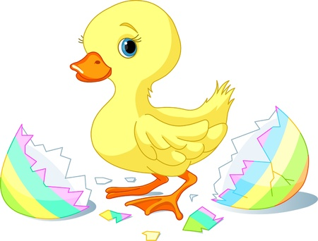 Easter duckling jumping out from broken egg