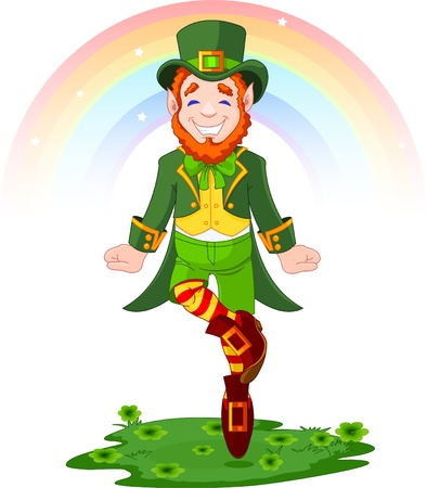jig: Full length drawing of a leprechaun dancing a jig for St. Patricks Day