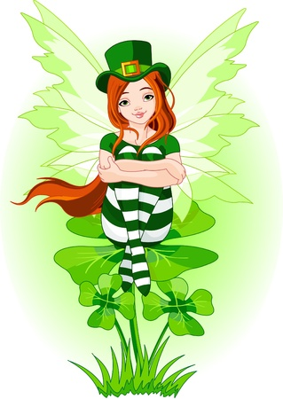 cute fairy: Illustration of Charming St. Patricks fairy sitting on clover