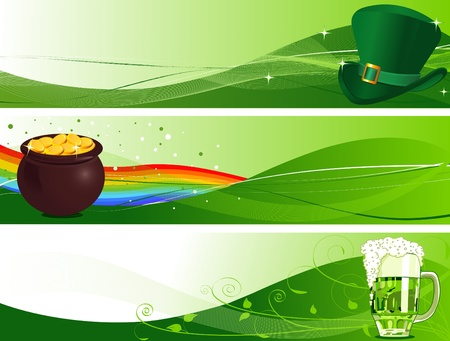 St. Patricks Day Banners with Leprechaun hat, pot and beer  Vector
