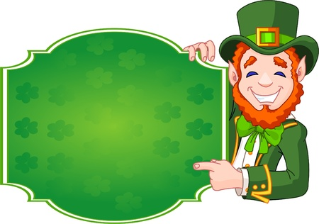 Great illustration of a cartoon St. Patricks Day Lucky Leprechaun holding sign Vector