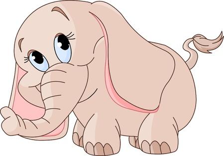 Illustratie van schattige kleine glimlachende baby olifant