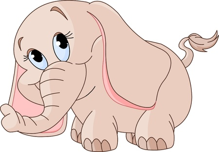 Illustration of cute Little smiling baby elephant   Иллюстрация