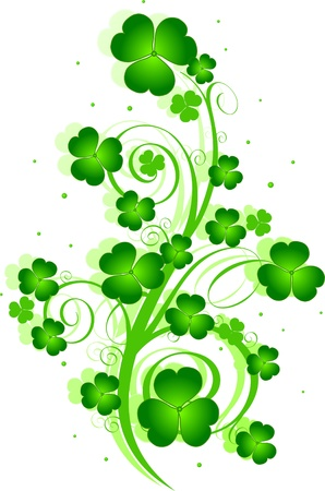 patrick: Decorative swirling St. Patricks Day design with clover Illustration
