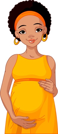African pregnant woman in yellow pregnant dress is prepared for maternity.  Vector