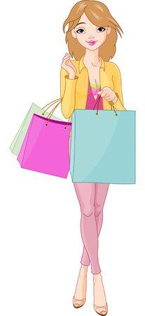 Illustratie van mooi meisje met shopping tassen