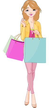 Illustration of Beautiful Girl with shopping bags Vector