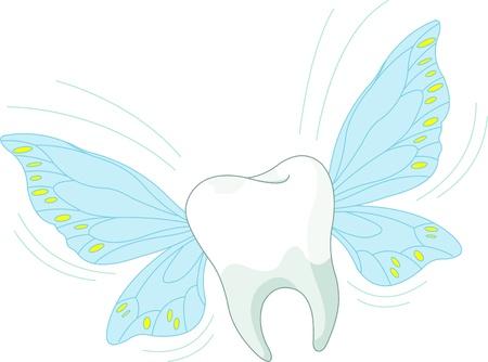 dientes caricatura: Caricatura diente car�cter volar en el aire