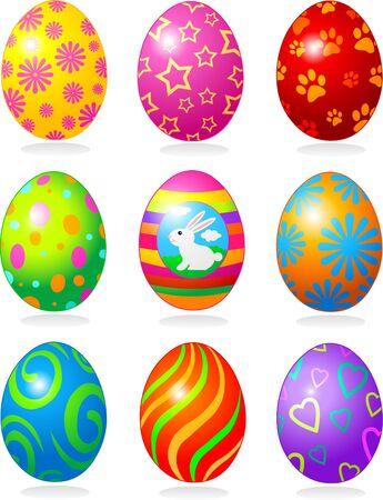 Nine fine painted eggs designed for Easter Vector