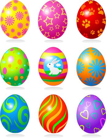 designed: Nine fine painted eggs designed for Easter Illustration