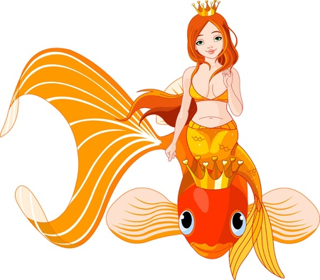 Pretty princess mermaid riding on a golden fish Stock Vector - 8922729