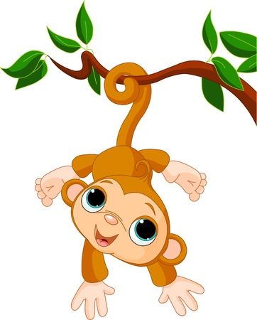 Illustration of Cute baby monkey on a tree  Vector