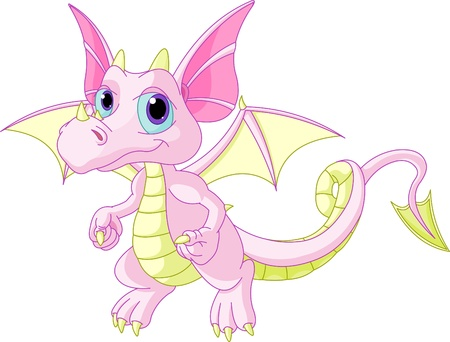 Illustration of Cute Cartoon baby dragon flaying
