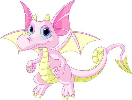 dragones: Ilustración de dibujos animados lindo bebé dragón desollado