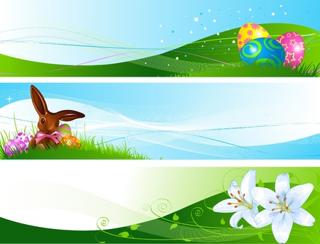 Illustrated set of three different Easter banners  Vectores
