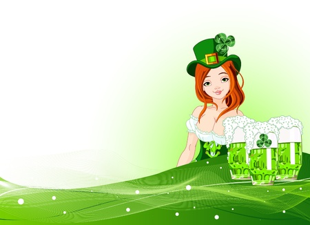 Invitation card to the St. Patricks Day with beautiful waitress Vector