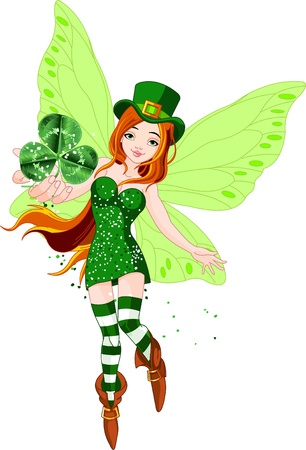 Illustration of beautiful St. Patricks Day fairy holding clover