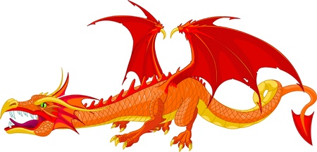 Illustration of a beautiful detailed red  dragon