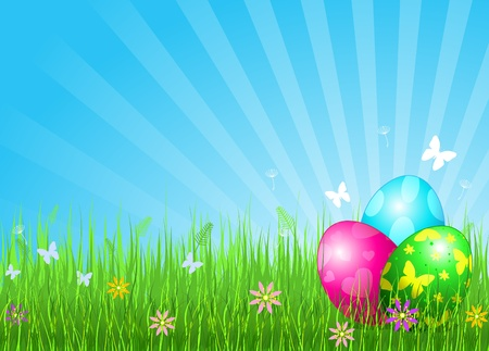 Abstract Easter background with Beautiful coloring Easter eggs on the meadow Çizim