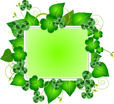 Three leafed clover frame for St. Patricks Day Vector