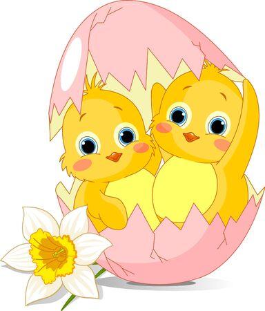 Twee Pasen kippen uit een ei uitgebroed
