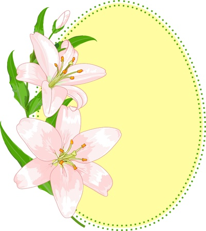 Illustration of Easter egg shape with lilies