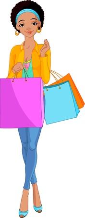 Illustratie van mooi Afrikaans meisje met boodschappentassen Stock Illustratie