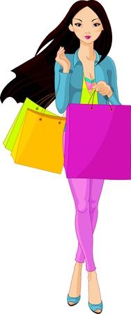 moda casual: Ilustraci�n de la hermosa ni�a asi�tica con bolsas de compra Vectores