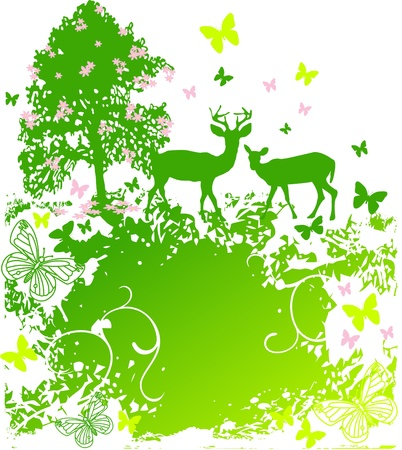 A beautiful spring scene of wildlife in nature background Stock Vector - 8987172