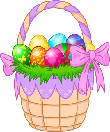 カラフルな卵と美しいイースターのバスケット