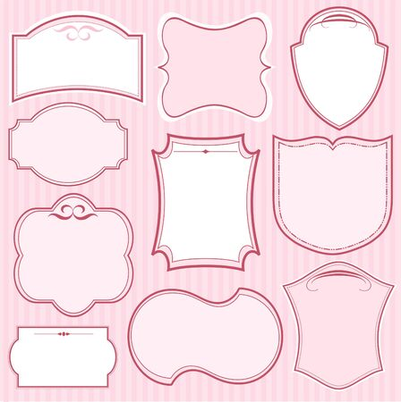 Set of pink vector frames and ornaments with text place. Perfect as invitation or announcement