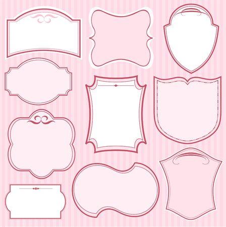 Set van roze vector frames en ornamenten met tekst plaats. Perfect geschikt als uitnodiging of aankondiging  Stock Illustratie