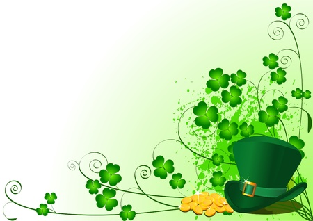 St. Patricks Day Floral Background with place for your copytext Vector