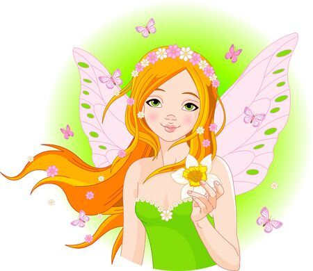 butterfly wings: Illustration of beautiful spring fairy with narcissus