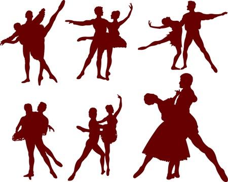 ballet slipper: Conjunto de siluetas de bailarines de ballet. Ilustraci�n vectorial Vectores