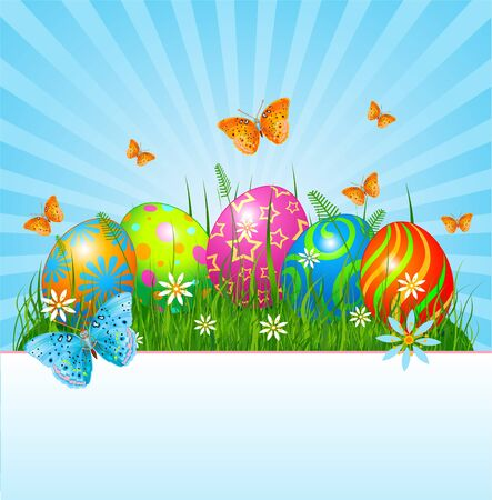 tranquil scene: Radial Easter place card  with eggs in grass Illustration
