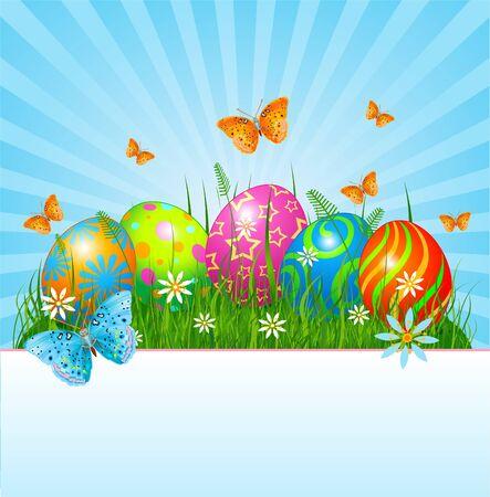 Radiale Paaskaart plaats met eieren in gras