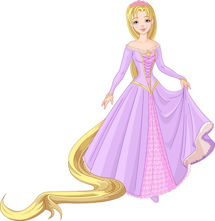 Very cute and beautiful  princess Rapunzel with long hair Illustration