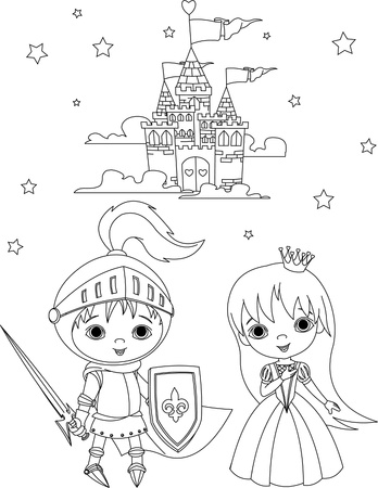 cartoon knight: Little boy as a knight and girl as a princess coloring page Illustration