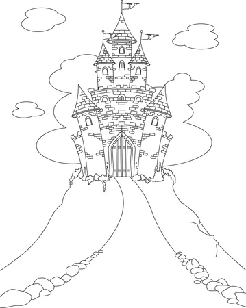 Coloring page with Magic Fairy Tale Princess Castle  Vector