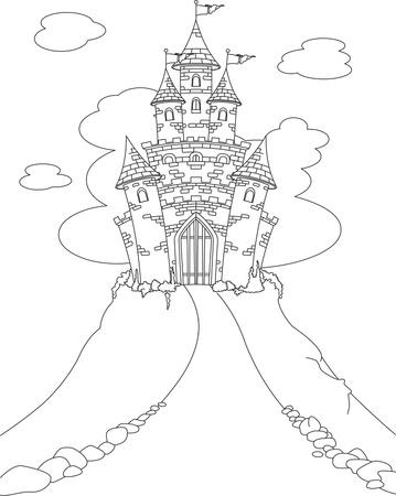 castillos de princesas: P�gina de colores con el castillo de la princesa de cuento de hadas de magia