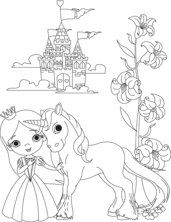 The Beautiful princess and her cute unicorn coloring page Illustration