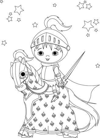 The brave knight on his faithful horse coloring page Illustration